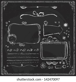 Vector Collection of Chalkboard Style Vintage Design Element