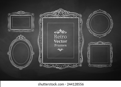 Vector collection of chalked vintage baroque frames. Isolated.