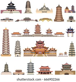 vector collection of chinese pagodas, ancient temples and towers