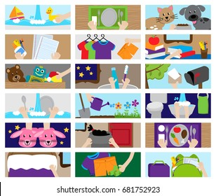 Vector Collection of Chore Chart or Job Chart Activities for Kids