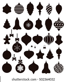 vector collection of christmas ball shapes, baubles with bows for retro ornament background. xmas holiday set of black and white icons