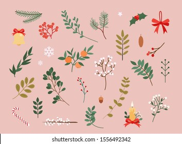 Vector collection of christmas decor elements for cards or posters. Flat design modern vector illustration concept.