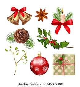 Vector collection of Christmas icons. Xmas objects isolated on white background