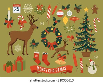 Vector collection of christmas items, elements and decorations featuring deer, christmas tree, gift boxes, candle, mistletoe, wreath, snow man, gingerbread man, candies, pine cones, calendar and more