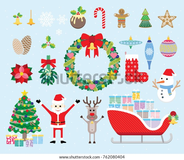 Christmas Items.Vector Collection Christmas Items Elements Decorations Stock
