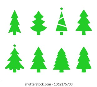 Vector collection of christmas trees. Christmas tree silhouettes. Fir tree simple vector illustration isolated on white background