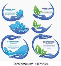 vector collection of clean women hands, fresh water and green leaves