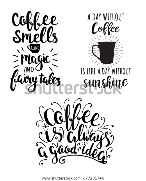 vector collection coffee hand drawing lettering stock vector