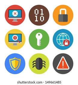 Vector collection of colorful icons in modern flat design style on internet security theme. Isolated on white background.
