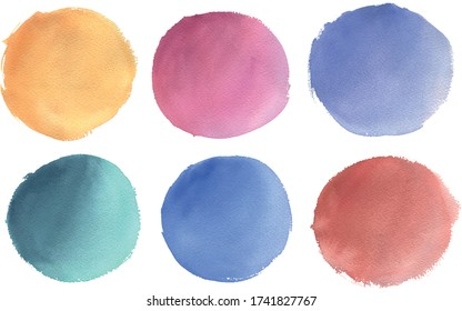 Vector collection of colorful vector round watercolor elements. Hand drawn texturized circles isolated on white background. Ideal for postcards, greetings, websites, Instagram highlights
