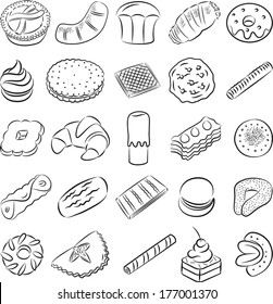 vector collection of cookies in line art