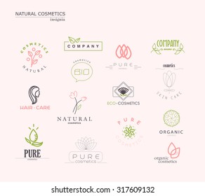 Vector collection of cosmetics logo identity templates. Natural and eco product label. Organic cosmetics and health care insignia. Spa salon and health center logo design, flower symbol.