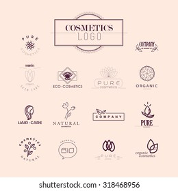Vector collection of cosmetics logo identity templates. Health center logo. Fashion brand design. Natural and eco product label. Organic cosmetics and health care insignia.