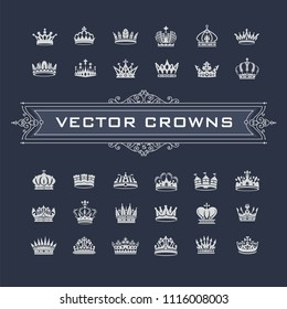 Vector collection of creative king and queen crowns symbols or logo elements. Set of Geometric vintage crown