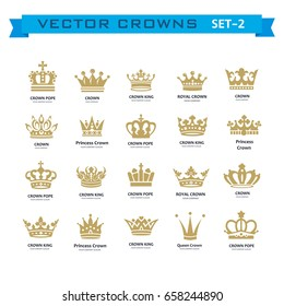 Vector collection of creative king, queen, princess, pope crowns symbols or logo elements. Set of Geometric vintage crown