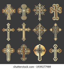vector collection of crosses with elegant golden designs