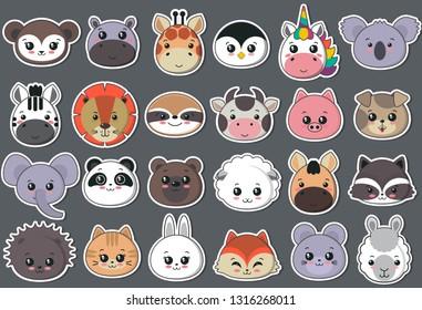 Vector collection of cute animal faces, big icon set for baby design. Koala, cow, giraffe, penguin, unicorn, bear, pig, dog, fox, panda, cat, lion rabbit raccoon hippo sloth mouse zebra lama