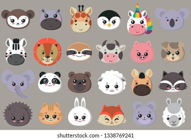 Vector collection of cute animal faces, big icon set for baby design. Koala, cow, giraffe, penguin, unicorn, bear, pig, dog, fox, panda, cat, lion rabbit raccoon hippo sloth mouse zebra lama