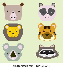 Vector collection of cute animal faces, icon set for baby design. Vector illustration