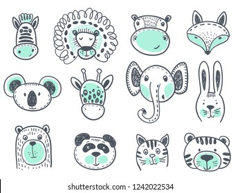 Vector collection of cute animal heads for baby and children design. Fox, giraffe, lion, rabbit, tiger, hippo, cat, coala, elephant, panda, bear, zebra.