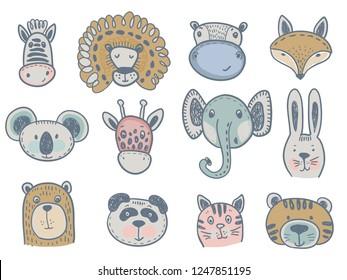 Vector collection of cute animal heads for baby and children design. Fox, giraffe, lion, rabbit, tiger, hippo, cat, coala, elephant, panda, bear, zebra.