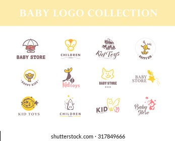 Vector collection of cute baby logo.Children toys store symbol. Kids fashion label design. Children clothes brand. Baby and kid store insignia template.