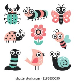 Vector collection of cute cartoon bugs, insects and garden elements in blush pink and mint green, isolated on white. Includes bee, flower, caterpillar, butterfly, snail, beetle, worm, ladybug, bird.