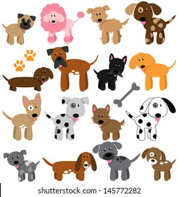 Vector Collection of Cute Cartoon Dogs
