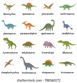 Vector collection of cute flat dinosaurs, including T-rex, Stegosaurus, Velociraptor, Pterodactyl, Brachiosaurus and Triceratop