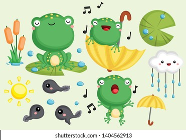 a vector collection of cute frogs and tadpoles