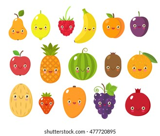 Vector collection of cute fruits and berries