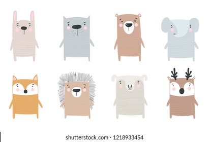 Vector collection of cute hand drawn animals. Doodle illustration. Winter holidays, baby shower, birthday, children's party