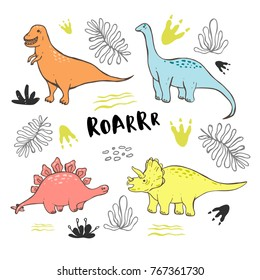 Vector collection of cute hand drawn dinosaurs, including T-rex, Pterodactyl, Brachiosaurus and Triceratop, isolated on white