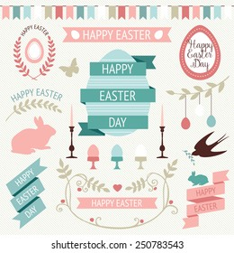 Vector collection of cute retro icons for easter design. Happy Easter Day. Easter design elements.