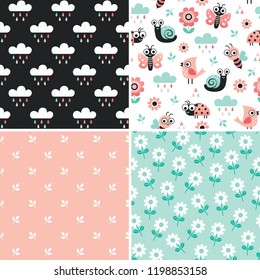 Vector collection of cute seamless patterns with cartoon bugs, insects and garden elements in blush pink and mint green. Pastel Spring backgrounds for baby and child, textiles and gift wrapping paper.