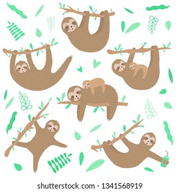 Vector collection of cute sloths. Hand-drawn cartoon illustration of a sloth hanging on a branch for children, a tropical summer, holiday, greeting card, banner, nursery, print, mother's day