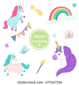 Vector collection of cute unicorns, rainbow, butterfly, stars, birthday bunting flags, magic wand. Adorable animal graphic set. Magical design elements isolated in white background