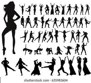 Vector, collection of dancing people