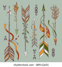 Vector collection with decorative arrows in bohemian, gypsy, tribal style and patterns. Ethnic decorative arrows set in tattoo style. Hand drawn vector illustration.