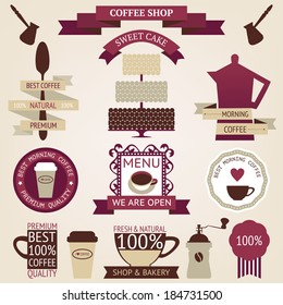 Vector collection of decorative coffee icons. Retro coffee silhouettes on aged background
