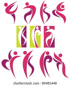 vector collection of decorative dancing symbols