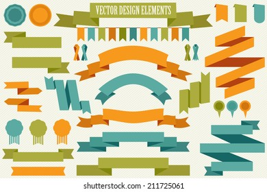 Vector collection of decorative design elements - ribbons, frames, borders, stickers, labels.