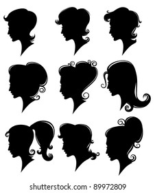 vector collection of decorative girls hairstyles