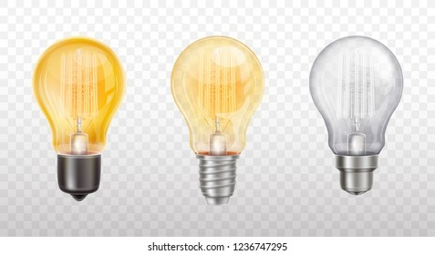 Vector collection of decorative light bulbs - glowing element with glass dome, metal spiral. Glowing lamp - energy, power concept. Symbol of inspiration, creativity isolated on transparent background