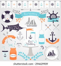 Vector collection of decorative sea elements for wedding or valentines day design. Vintage icons in sea or beach style isolated on white