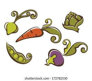 vector collection of decorative vegetables images