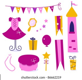 Vector collection of design elements for Princess Party.