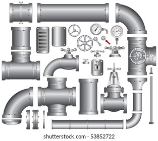 Vector Collection of detailed Construction Pieces: pipes, fittings, gate valve, faucet, ells ... SIMILAR IMAGES SEE AT MY GALLERY