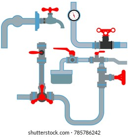 Vector Collection of detailed Construction Pieces: pipes, fittings, gate valve, faucet,filtres.