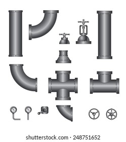 vector collection of detailed construction pipeline (black)